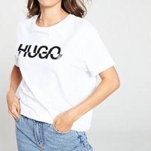 """NWT HUGO Boss """"Denalisa"""" Logo Print T-shirt - Sz S"""